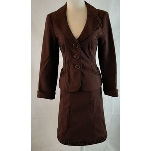 NANETTE LEPORE Chocolate Brown Skirt Suit 8 6